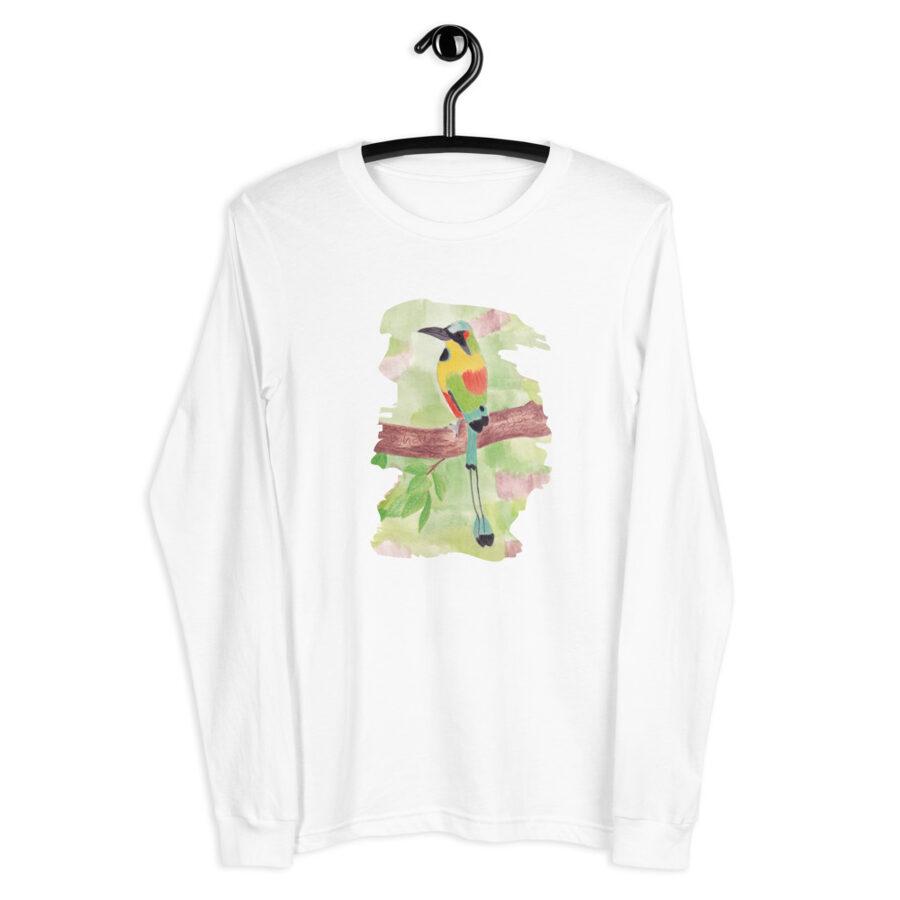 Balts sieviešu krekls ar garām piedurknēm ar putniņa zīmējumu